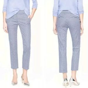 J Crew Campbell Capri In Blue Abstract Wave Print